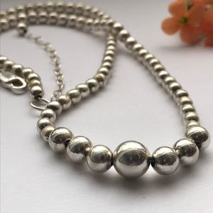 Jewelry - 925 Sterling silver graduated ball necklace 16-18""